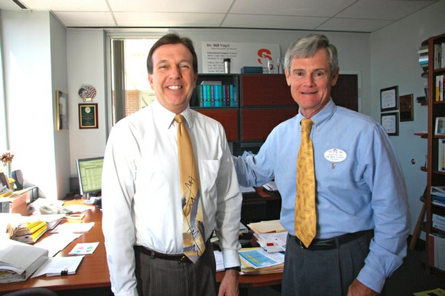 Seminole County Schools Superintendent Bill Vogel poses with his successor, Walt Griffin, who will take over on July 1.