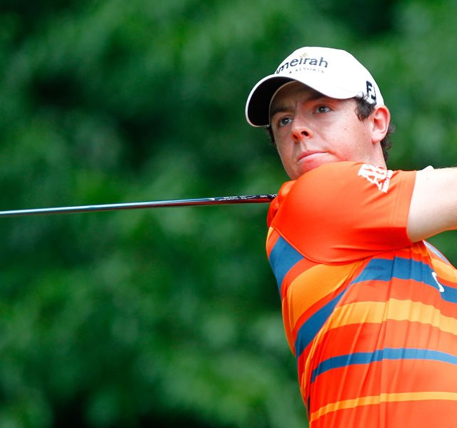 Rory McIlroy of Northern Ireland hits his tee shot on the fifth hole during the third round of the Wells Fargo Championship.