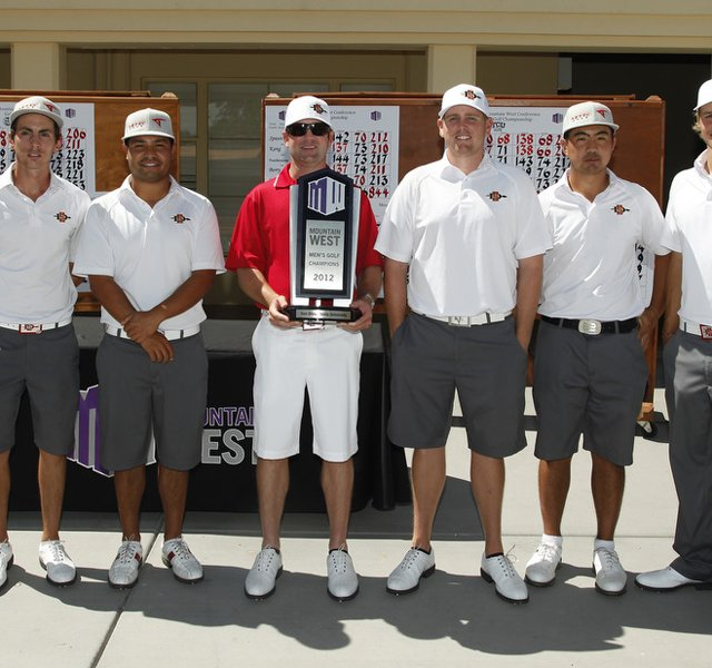 San Diego State&#39;s men after winning the Mountain West Conference Championship.