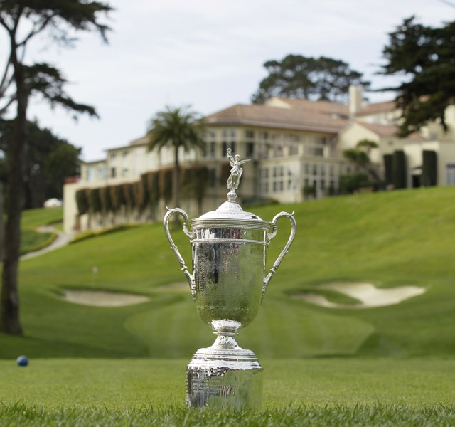 The U.S. Open trophy on the eighth tee at the Olympic Club
