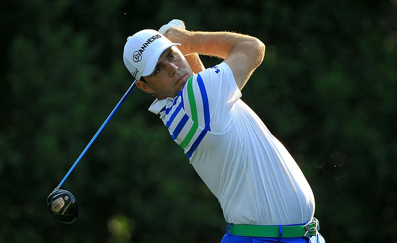 Gary Woodland of the United States hits his tee shot on the 11th hole during the first round of THE PLAYERS Championship.