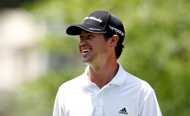 Brian Harman of the United States smiles on the seventh hole during the first round of the Wells Fargo Championship.