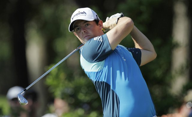 Rory McIlroy, of Northern Ireland, hits from the 12th tee during the second round of the Players Championship.