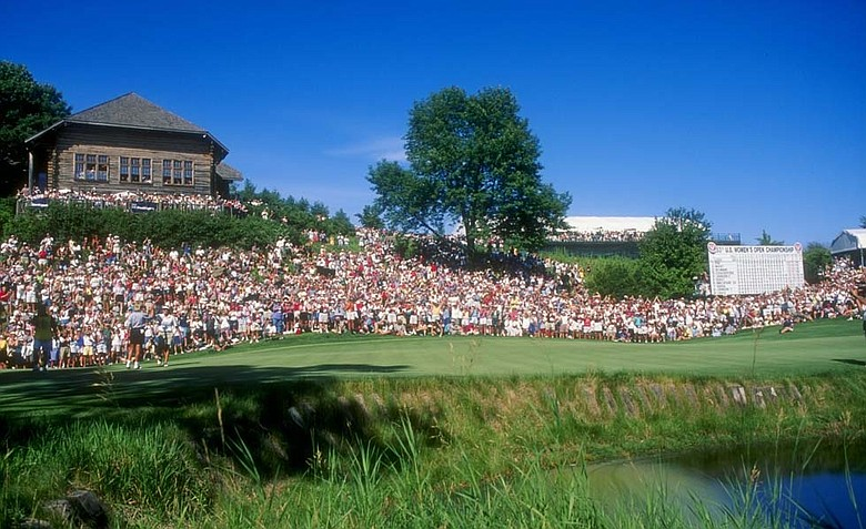 Crowds gather at Blackwolf Run's 18th hole during the 1998 U.S. Women's Open.