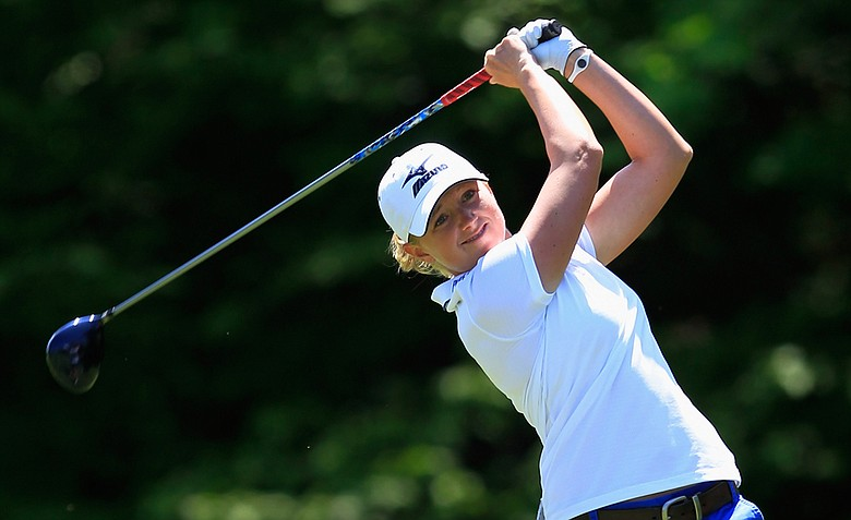 Stacy Lewis hits her tee shot on the second hole in the second round of the Sybase Match Play Championship at Hamilton Farm Golf Club.