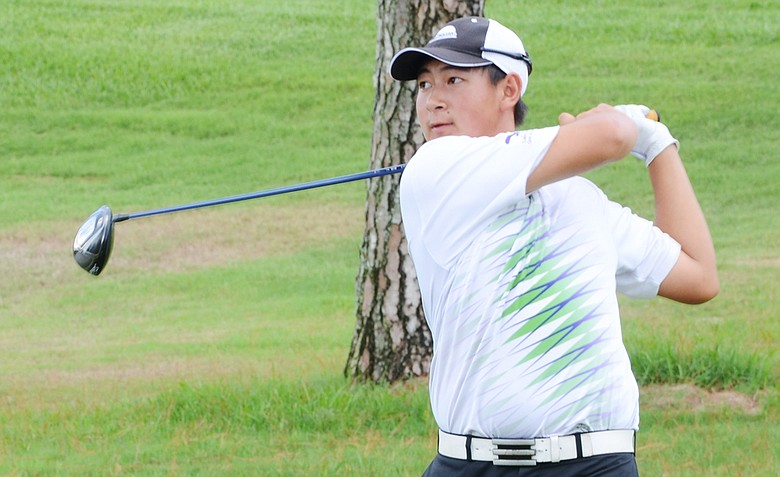 Carl Yuan, 15, on the first tee during the U.S. Open local qualifier on Thursday at Timacuan Country Club.