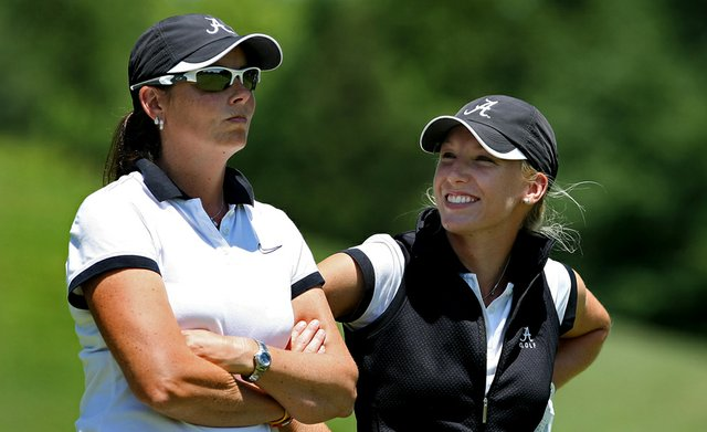 Alabama's Brooke Pancake (right), with assistant coach Susan Rosenstiel on Wednesday at the 2012 NCAA Division I Women's Golf Championships at Vanderbilt Legends Club