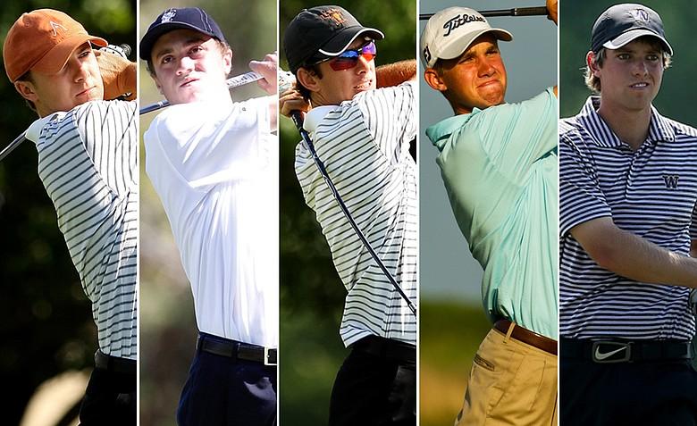 Texas' Jordan Spieth, Alabama's Justin Thomas, Texas' Dylan Frittelli, Stanford's Patrick Rodgers and Washington's Chris Williams.