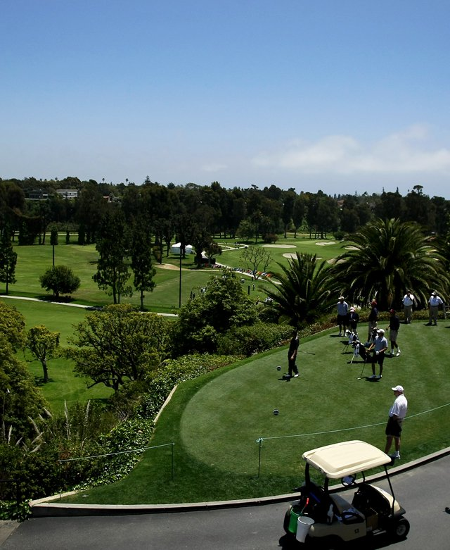 View of the first tee during the 2012 NCAA Championship at Riviera Country Club in Pacific Palisades, Calif.