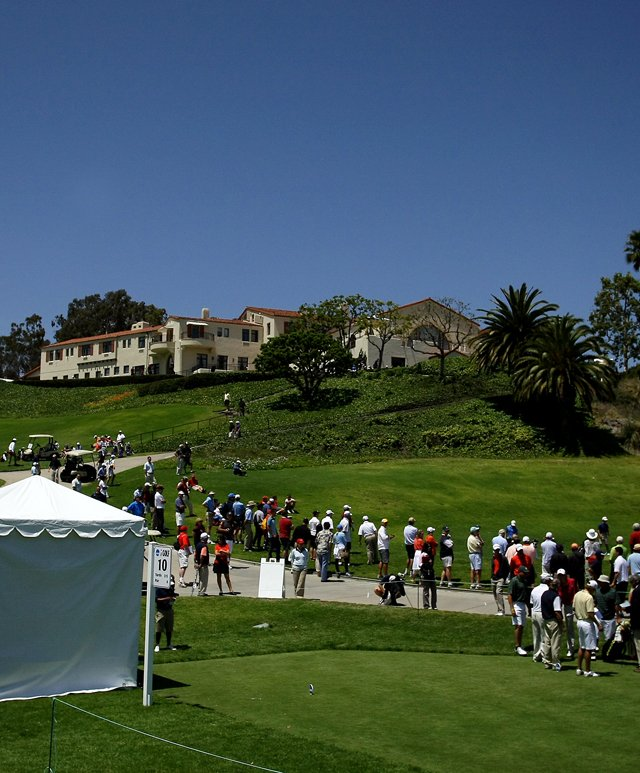 View of the clubhouse from the 10th tee during the 2012 NCAA Championship at Riviera Country Club in Pacific Palisades, Calif.