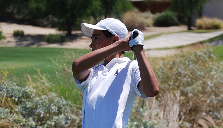 Derek Castillo watches a shot during his victory at PGA West