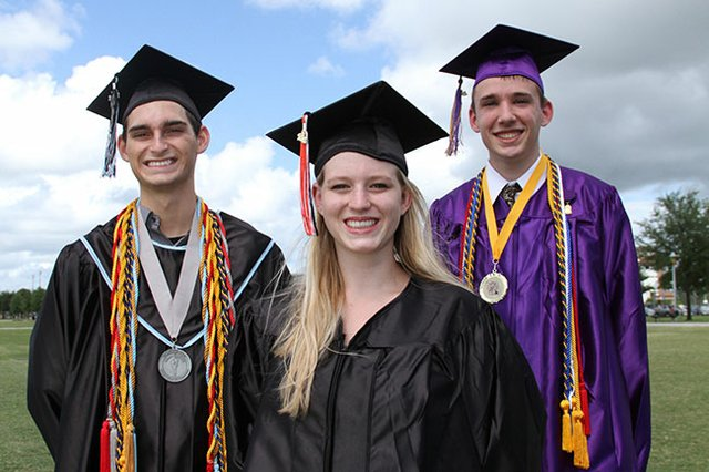 Michael Scimeca, from Hagerty High School, Allison Coleman, from Oviedo High School, and Sam Hendley, from Winter Springs High School, are tops of their graduating classes. Scimeca and Hendley are valedictorians and Coleman is a salutatorian.