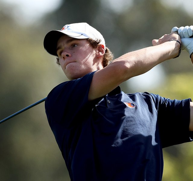 Thomas Pieters of Illinois hits his tee shot at No. 1 during the 2012 NCAA Championship at Riviera Country Club.