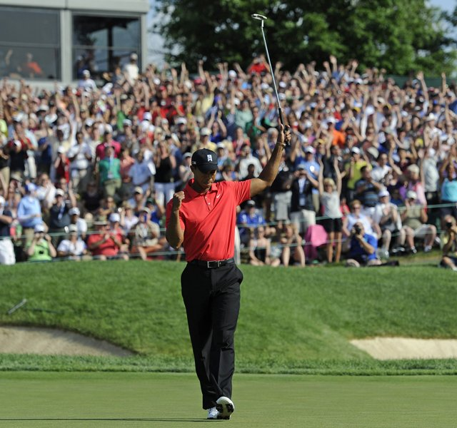 Tiger Woods reacts on the 18th green after winning the Memorial Tournament presented by Nationwide Insurance at Muirfield Village Golf Club on June 3, 2012 in Dublin, Ohio.