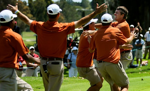 Dylan Frittelli runs toward his teammates after sinking his putt at No. 18 during the finals of match play. Texas defeated Alabama for the National Championship.