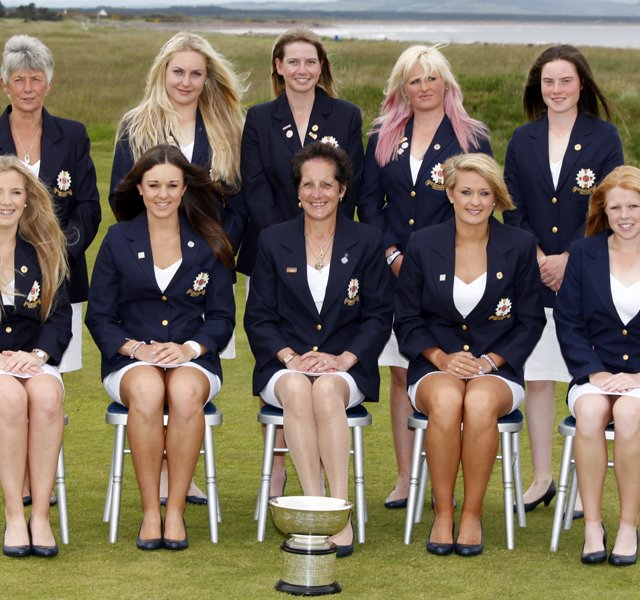 Back Row: Manager Anna Hubbard, Charley Hull (GB&I), Pamela Pretswell (GB&I), Holly Clyburn (GB&I), Leona Maguire (GB&I) Front Row: Bronte Law (GB&I), Kelly Tidy (GB&I), Tegwin Matthews (GB&I), Amy Boulden (GB&I), Stephanie Meadow (GB&I) as seen during the Opening Ceremony at the Curtis Cup Match at The Nairn Golf Club in Nairn, Nairnshire, Scotland on Thursday, June 7th, 2012.