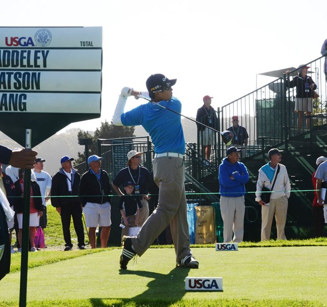 Andy Zhang, 14, tees off at the par-5 16th hole at Olympic Club in San Francisco.