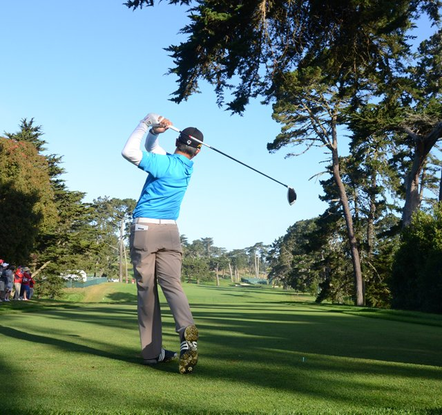 Andy Zhang, 14, tees off at the par-4 10th hole at Olympic Club in San Francisco.