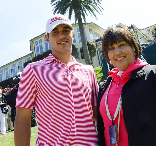 Brooks Koepka and his mother, Denise Jakows, in front of the clubhouse at The Olympic Club in San Francisco, site of the 2012 U.S. Open.