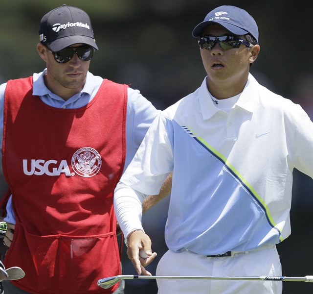 Andy Zhang waits to hit on the 18th tee during the first round of the U.S. Open Championship golf tournament Thursday, June 14, 2012, at The Olympic Club in San Francisco.