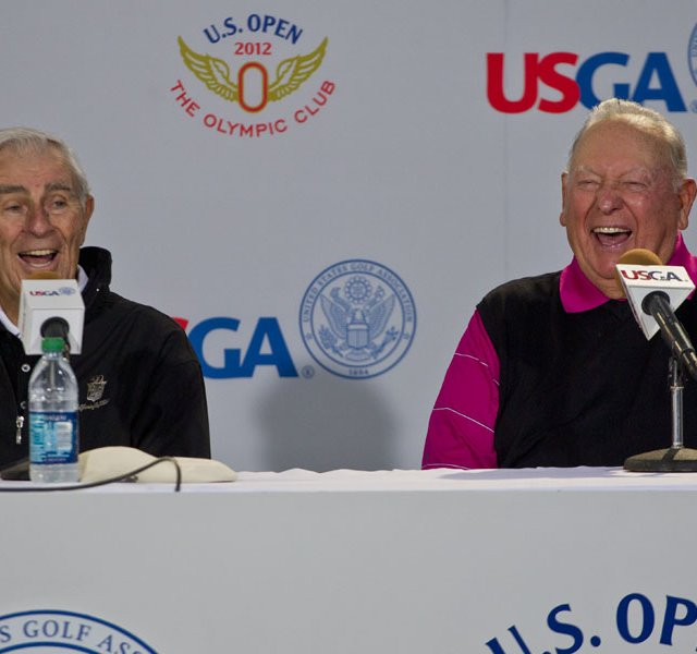 Billy Casper and Jack Fleck share a laugh during a press conference at the 2012 U.S. Open at The Olympic Club in San Francisco, Calif. on Tuesday, June 12, 2012. 