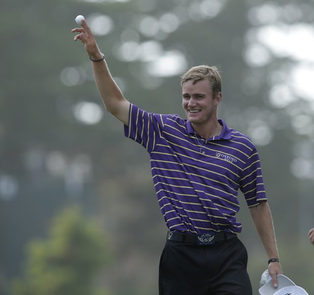 John Peterson reacts to an ace at Olympic Club&#39;s 13th.