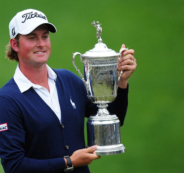 Webb Simpson of the US holds his championship trophy after winning the 112th US Open.