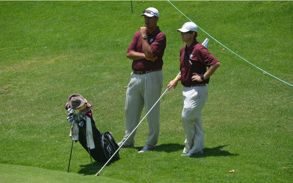 Texas A&M men's assistant coach Jim Anderson (right) has been selected to take over the men's program at Arizona, replacing the retired Rick LaRose.