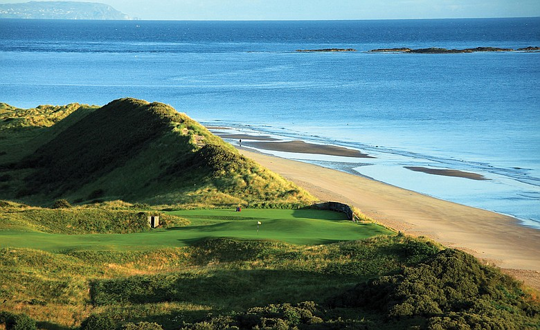 The par-4 5th hole 'White Rocks' on the Dunluce Course at Royal Portrush Golf Club.