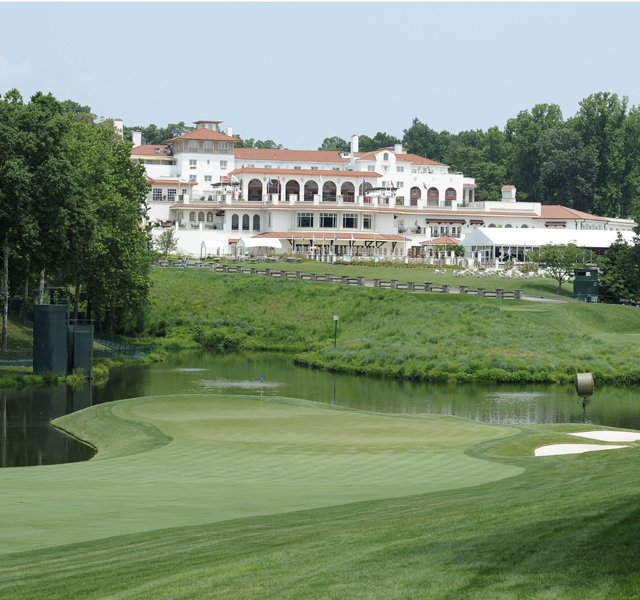 View of the 18th green in advance of the 2011 U.S. Open at Congressional Country Club in Bethesda, Md.