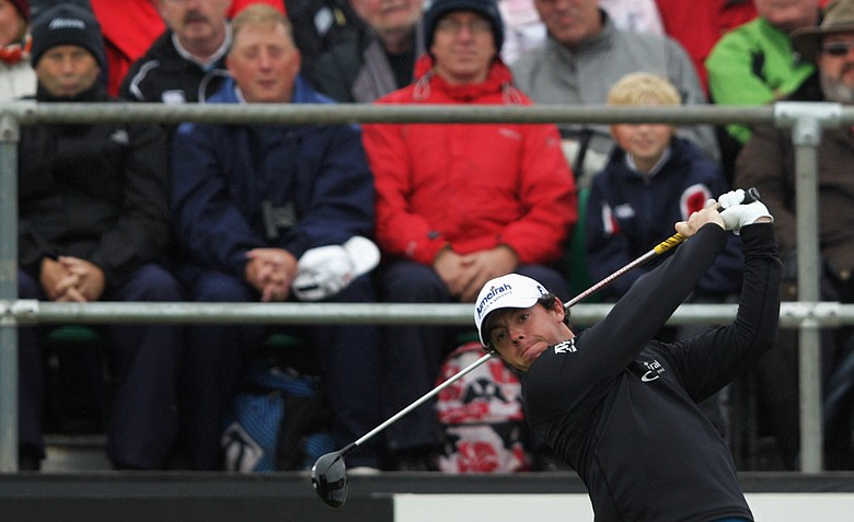 Rory McIlroy hits his tee shot on No. 1 during the final round of the 2012 Irish Open held at Royal Portrush Golf Club.