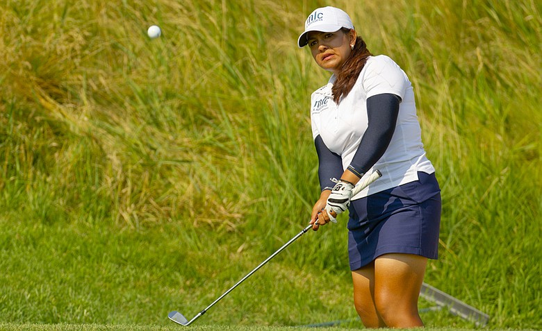 Lizette Salas watches her pitch shot to the 11th hole during the first round at the 2012 U.S. Women's Open at Blackwolf Run in Kohler, Wis. on Thursday, July 5, 2012.