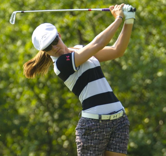 Vicky Hurst plays her second shot on the fifth hole during the second round at the 2012 U.S. Women's Open at Blackwolf Run in Kohler, Wis. on Friday, July 6, 2012.