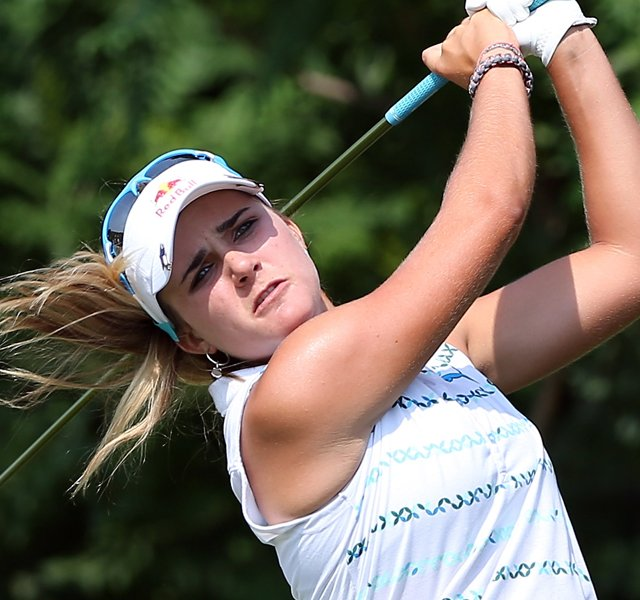 Lexi Thompson tees off on No. 14 during the second round of the 2012 U.S. Women&#39;s Open.