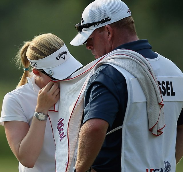 Morgan Pressel wipes her face during the second round of the 2012 U.S. Women&#39;s Open.