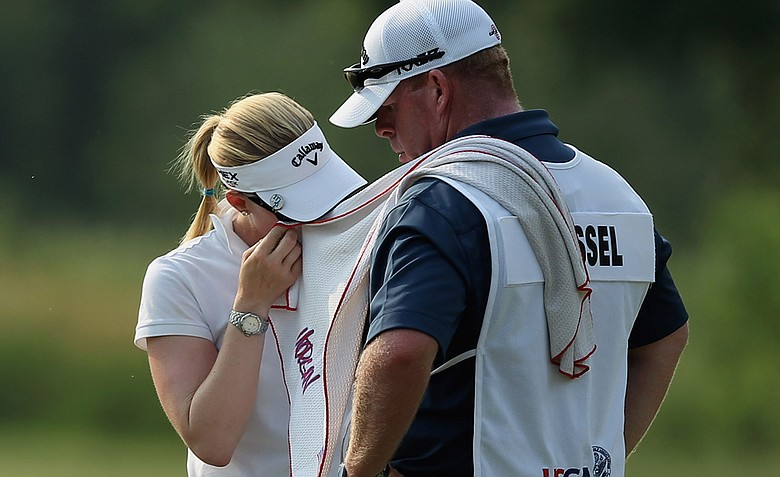 Morgan Pressel wipes her face during the second round of the 2012 U.S. Women's Open.