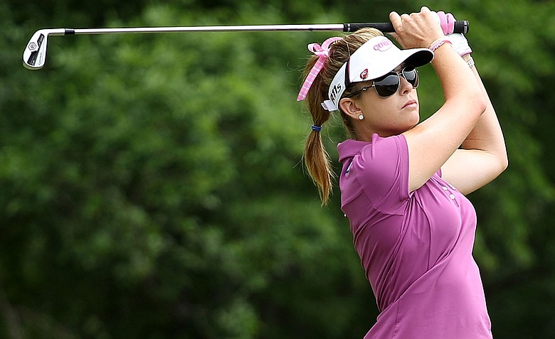 Paula Creamer hits her tee shot on the 17th hole during the third round of the 2012 U.S. Women's Open.