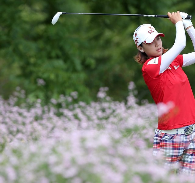 Na Yeon Choi tees off from the 6th hole during the third round of the 2012 U.S. Women's Open.