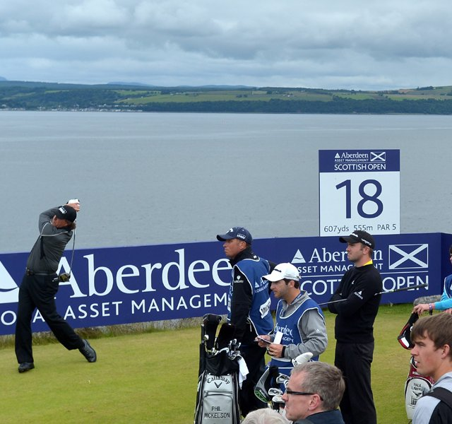 Phil Mickelson tees off during the second round of the Scottish Open at Castle Stuart Golf Links.