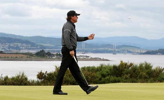 Phil Mickelson walks on the 9th hole during Day 2 of the Scottish Open at the Castle Stuart Golf Links, Inverness, Scotland.