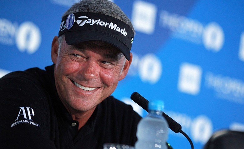 Darren Clarke speaks during a press conference at Royal Lytham and St Annes in Lytham on Monday.
