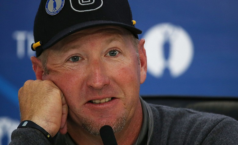 David Duval speaks with the media during the third practice round prior to the start of the 141st Open Championship at Royal Lytham & St. Annes.