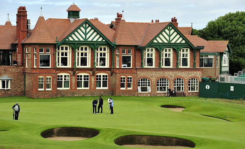 View of the clubhouse and the 18th green during practice for the 2012 Open Championship at Royal Lytham & St. Annes.