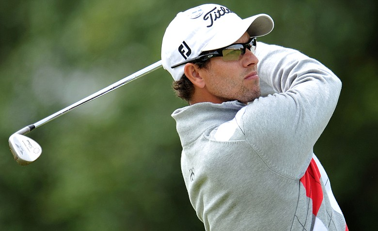 Adam Scott watches a shot during the first round of the 141st Open Championship at Royal Lytham & St. Annes Golf Club.