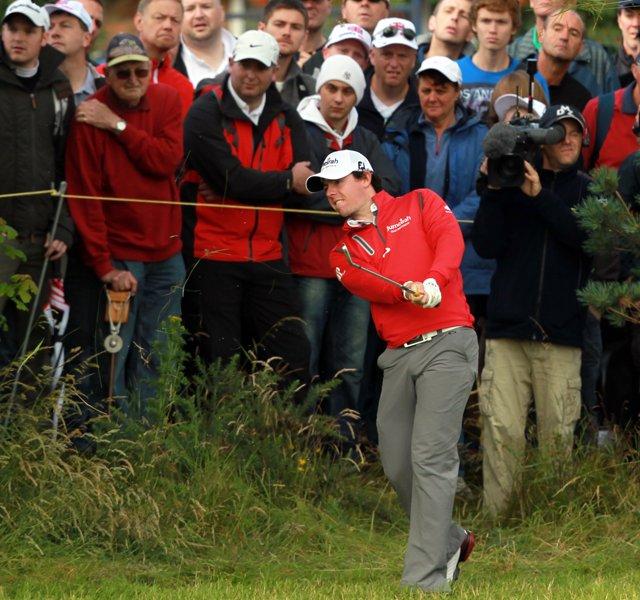 Rory McIlroy plays his second shot from the rough on the second hole during the second round of the 2012 Open Championship at Royal Lytham and St. Annes.