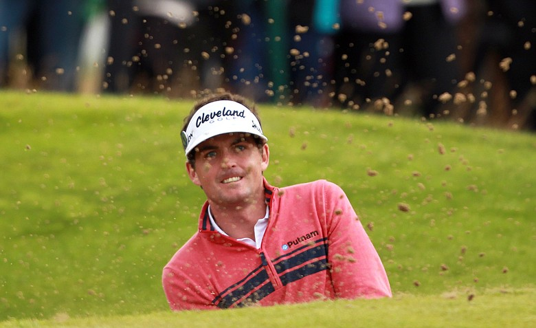 Keegan Bradley plays out of a bunker on the sixth hole during his second round at the 2012 Open Championship at Royal Lytham and St. Annes.