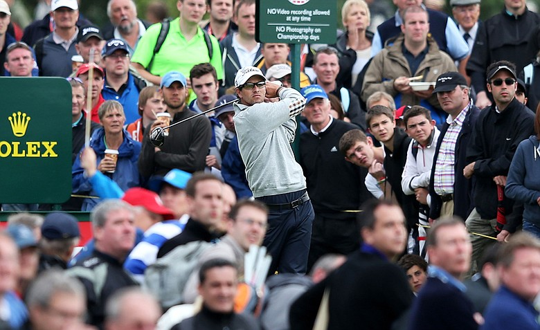 Adam Scott watches his tee shot on the 14th hole during the second round of the 141st Open Championship at Royal Lytham & St. Annes Golf Club.