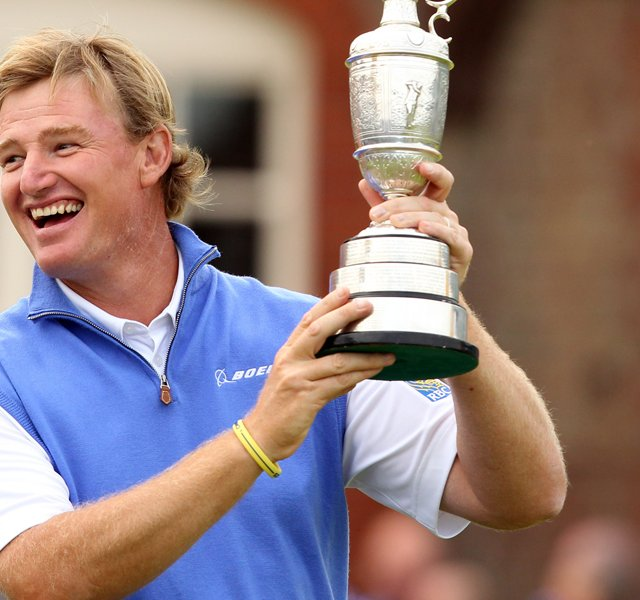 Ernie Els holds the Claret Jug, &#39;The Golf Champion Trophy&#39; after winning the 2012 Open Championship at Royal Lytham and St. Annes.