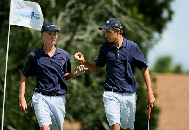 The West's Connor Black, left, and Scott Scheffler, right, won their match 5&4 over the East on Wednesday during the morning foursome matches.