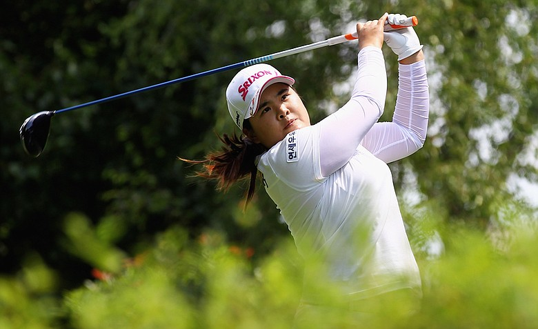 Inbee Park tees off on the 4th hole during the fourth round of the Evian Masters.